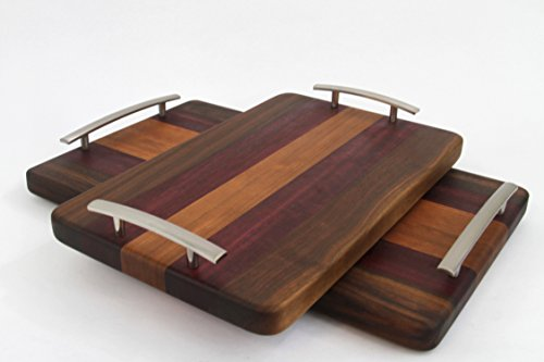 Handcrafted Wood Cutting/Serving Tray - Edge Grain - Walnut, Purpleheart & Cherry No slip, easy grip handles, perfect for breakfast in bed!