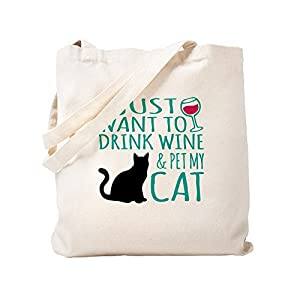 CafePress - Drink Wine And Pet My Cat - Natural Canvas Tote Bag, Cloth Shopping Bag