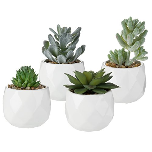 MyGift Assorted Realistic Succulent Plants in Modern Geometric Ceramic Pots, Set of 4