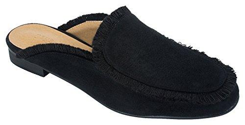 Annakastle Womens Rand-getrimde Backless Loafer Flats Mode-slippers Zwart