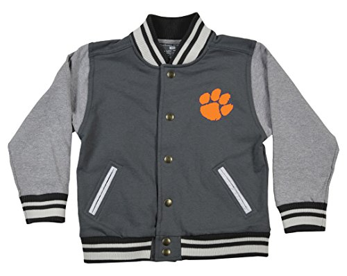 NCAA Clemson Tigers Children Unisex Toddler Letterman Jacket, 3 Toddler, Pewter/Oxford