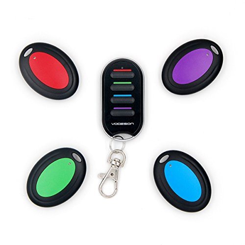 Vodeson KF04B Wireless RF Wallet Locator Key Finder, Remote Control Keychain Locator with 1 Portable Transmitter and 4 Receivers