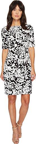London Times Women's Matte Jersey Ruched Sheath Dress Black/White 12