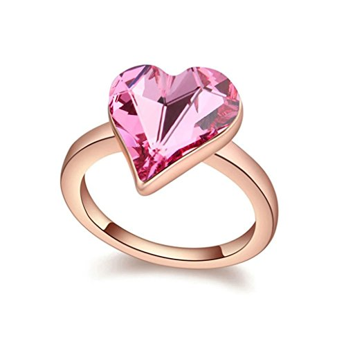 Epinki Gold Plated Ring, Womens Wedding Bands Rose Red Simple Elegant Heart Crystal Ring Size 7