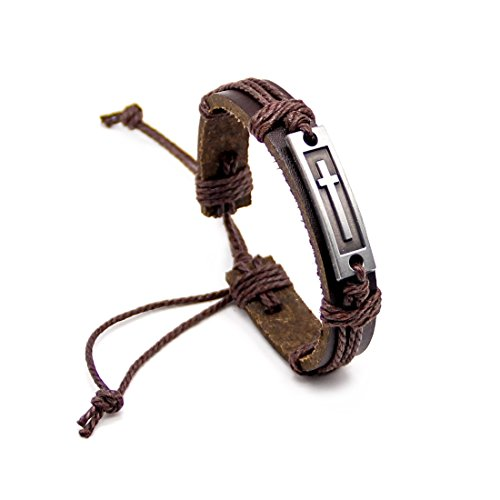 (LNKRE JEWELRY Mens Cross Bracelet Brown Leather Religious Christian Jewelry Woven Rope Wrap Bangle)