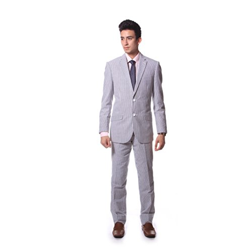 Men's Slim Fit Seersucker Suit by Zonettie - Available in Many Colors