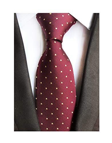 MENDENG Men's Burgundy Gold Polka Dot Silk Tie Wedding Necktie Elegant Suit Ties