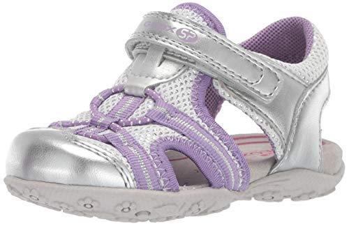 Geox Girls' Roxanne 39 Closed Toe Velcro Play Sandal Sport, Silver/White 24 Medium EU Toddler (8 US)
