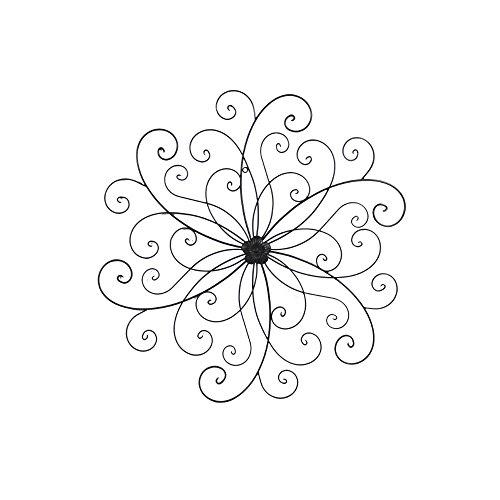 Benzara C482-MTL0008 Metal Flower Wall Decor with Scroll Design, Black