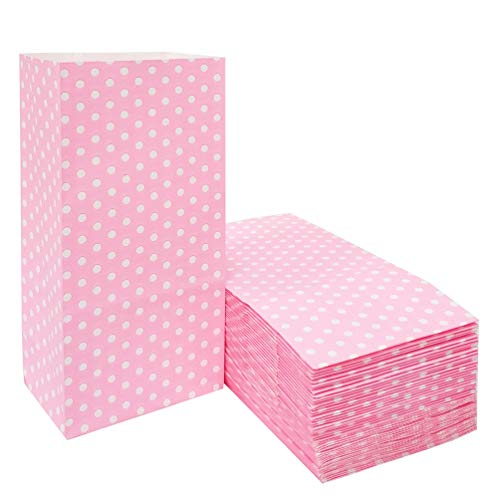 50 PCS Pink Kraft Paper Bags Mini Printed Paper Bags with Polka dot Paper Gift Bags Pink Goodie Bags for Kid's Birthday Wedding Party Favor Bags(3.5 x 2.3 x 7 in)