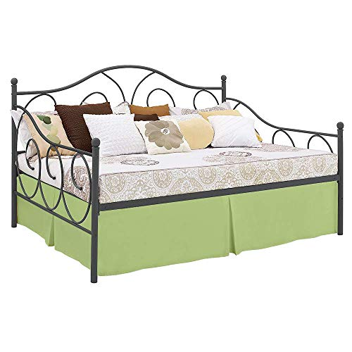 Daybed Tailored Bed Skirt Twin-XL Size, 18'' Drop Pleated Split Corners Bedskirt, Sage (Available in 10 Solid Colors)