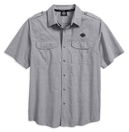 - Harley-Davidson Men's Microstripe Short Sleeve Garage Shirt 96419-18VM (2XL) Gray