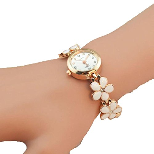 Usstore Fashion Daisies Flower Rose Gold Bracelet Wrist Watch Women Girl Gift