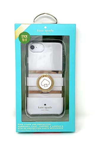 Kate Spade New York Stability Ring & Protective Hardshell Case for iPhone 8 / iPhone 7 / iPhone 6 - White/Gold