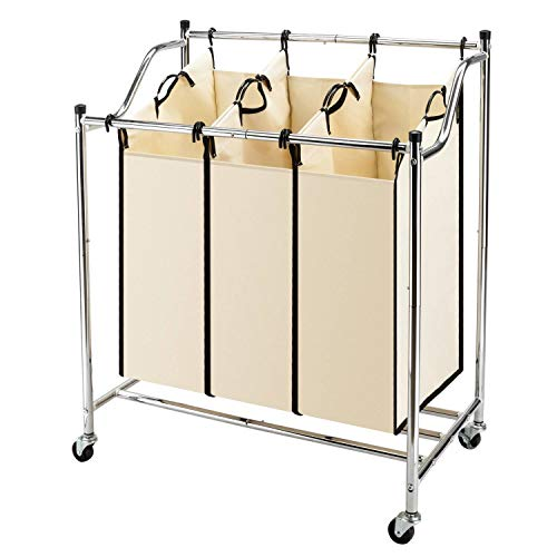 3-Bag Laundry Sorter Cart on Wheels Heavy-Duty Mobile Laundry Hamper with Removable Bags Chrome