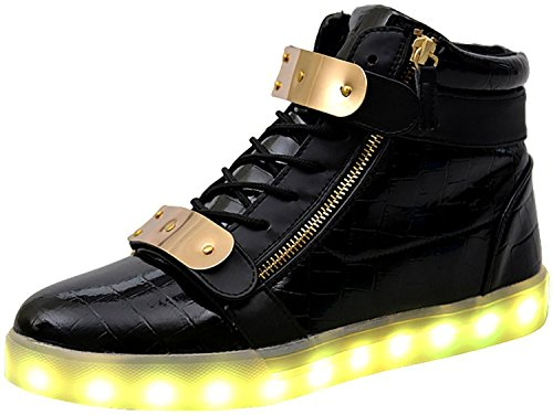 XIN BARLEY Men Women High Top USB Charging LED Light Shoes Flashing Sneakers Black38