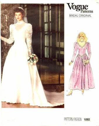 Amazon.com: Vogue 1092 Sewing Pattern Misses Bridal Dress ...