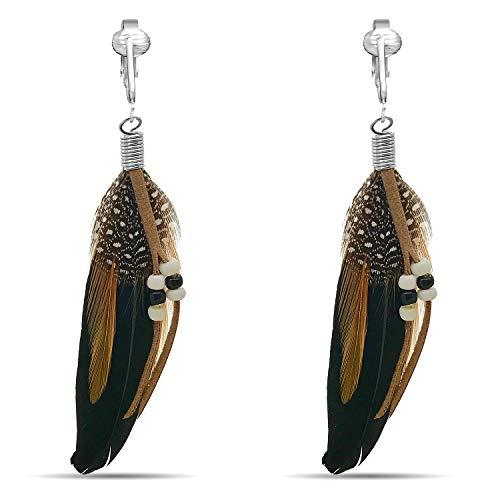 (Clip On Tassel Earrings-Silk Tassel-Long Clip On Feather Earrings-Bohemian Clip On Earrings-Dream Catcher (Black Feathers))