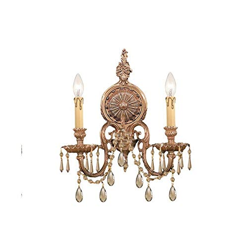 Crystorama Antique Brass Sconce - Crystorama 2802-OB-GT-MWP, Novella Candle Crystal Wall Sconce Lighting, 2 Light, 120 Watts, Brass