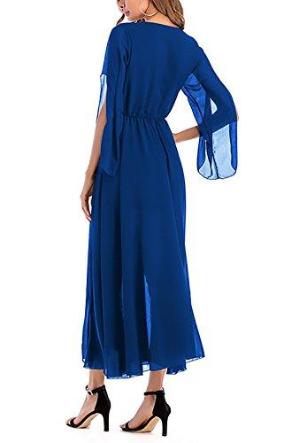 ... Chiffonkleid Damen Elegant Festlich Sommerkleider Kleid Lang  V-Ausschnitt 50Er Jahre Kleider Bekleidung Modisch Dresses ... 86661643cb