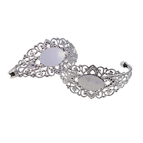 Fityle 2 Piece DIY Filigree Flower Bracelets Bangle Blank Base Oval Cabochons Charms Bezel Tray Setting Jewelry Findings for Women Ladies - Silver -
