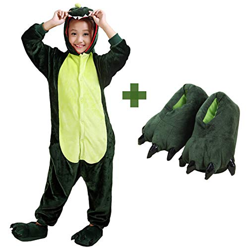 Kids Unisex Dragon Onesie Pajamas Animal Costume Sleepwear with Monster Slipper (Green Size -