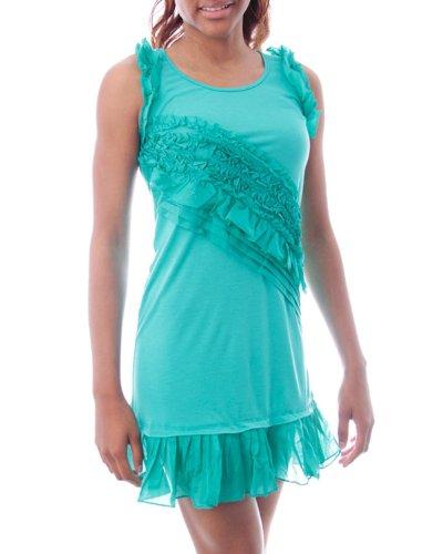 G2 Chic Women's Scoop Neck Party Dress with Chiffon Ruffles(DRS-EVP,LBL-S)