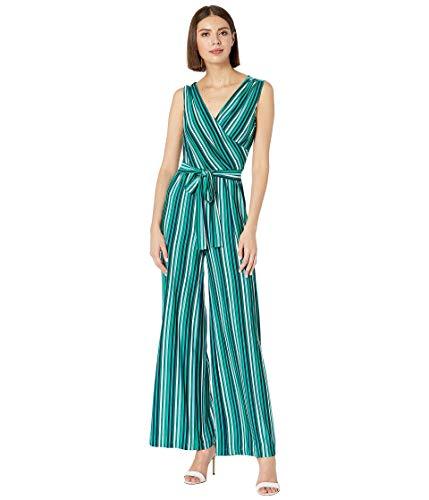 Donna Morgan Women's Sleeveless Matte Jersey Metallic Stripe Wrap Jumpsuit, Navy/Kelly Green, 8