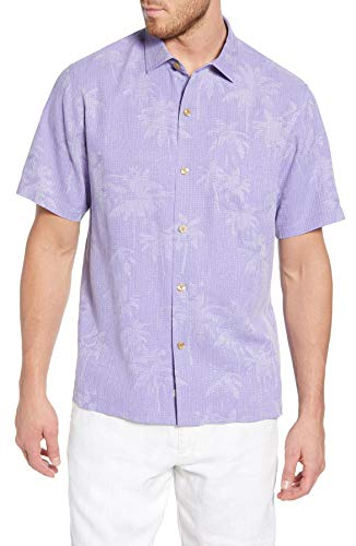 Tommy Bahama Digital Palms Silk Camp Shirt (Color: Violet Tulip, Size XXL)