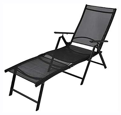 HomyDelight Sun Lounger, Folding Sun Lounger Aluminium Black