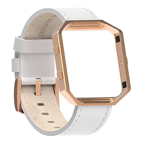 "Austrake For Fitbit Blaze Bands Leather with Frame Large(6.7""-8.3""), Fitbit Blaze Band with Stainless Steel Buckle for Women Men"