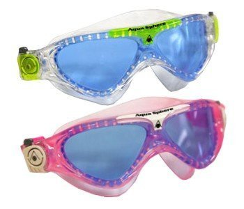 Aqua Sphere Vista Junior 2 Pack Swim Goggles Blue Lens w/Clear/Lime & Pink/White Frames