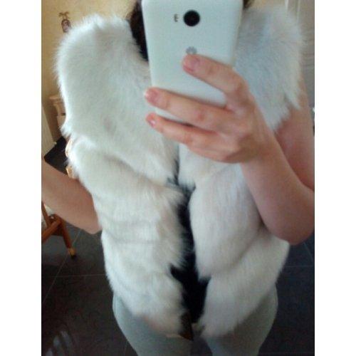 Vest taglia Fur Fashion White XL 2016 Sleeveless Women Amandine Faux 7RqfSw7d