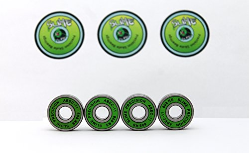 4 x GREEN SLIME - ABEC 11 608 RS Water Resistant Rubber Seal Skateboard /...