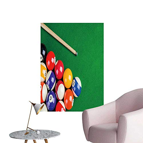 SeptSonne Wall Art Prints billiar Balls on Green Table billiar cue Snooker Pool Game for Living Room Ready to Stick on Wall,20