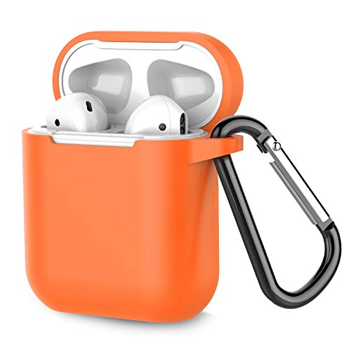 Airpods Case, Coffea AirPods Accessories Shockproof Case Cover Portable & Protective Silicone Skin Cover Case for Apple Airpods 2 & 1 (Front LED Not Visible) - Vibrant Orange (Case Orange Accessory)
