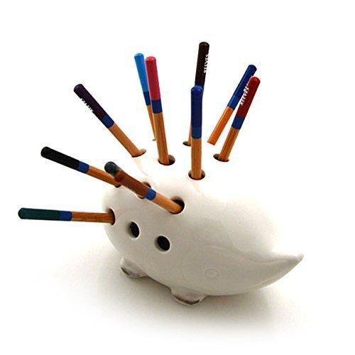 Ceramic White Porcupine Hedgehog Pencil Pen Holder Desk Organizer (Large Image)
