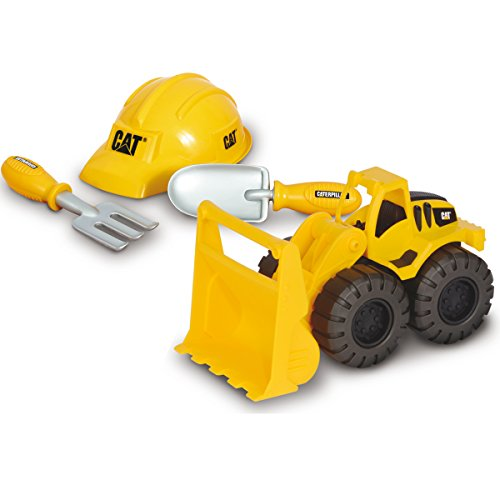 CAT Radlader Sand Set mit Helm, Schaufel und kleiner Harke, 25 cm: Bau Spielzeug Helm Auto Schaufellader Sandkasten Fahrzeug