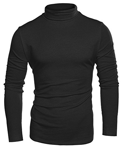 Coofandy Mens Casual Basic Thermal Turtleneck Slim Fit Pullover Thermal Sweaters, Black, XX-Large by COOFANDY