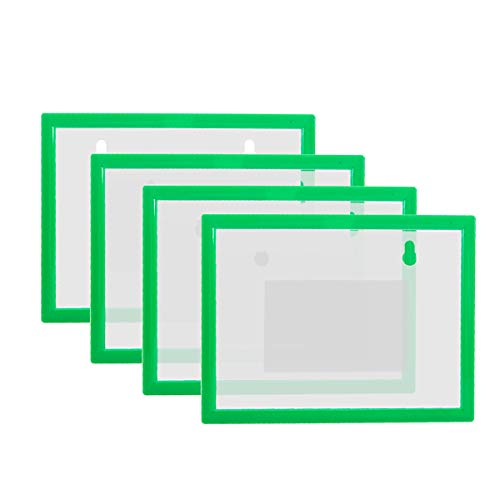 "8 Pack Magnetic Sign Picture Holder in A6 Size - 5.8"" x 4.1"", Portable Document File Photo Cases with Magnetic Back for Whiteboard/Cabinet/Fridge, Green"