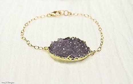 Pulsera morada de rubí, joyas drusas, pulsera de piedras preciosas, geoda, pulsera seca, joyería de piedras preciosas de rubí de 2,5 cm de largo, cadena de 17,8 cm.