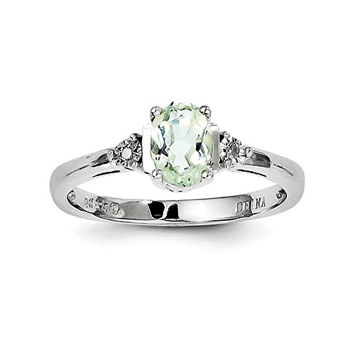 Sterling Silver Polished Rhodium-plated Diamond and Green Amethyst Ring - Size 7 (Green Amethyst And Diamond Ring)