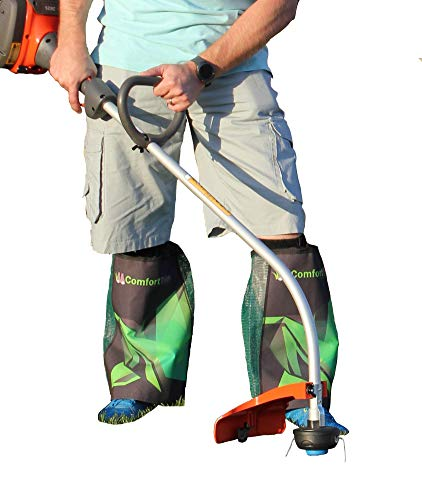 ComfortTrim | Weed Eater Leg Cover | Weed Wack, Edge or Trim Your Lawn in Shorts! | One Size Fits All! (Green/Black)