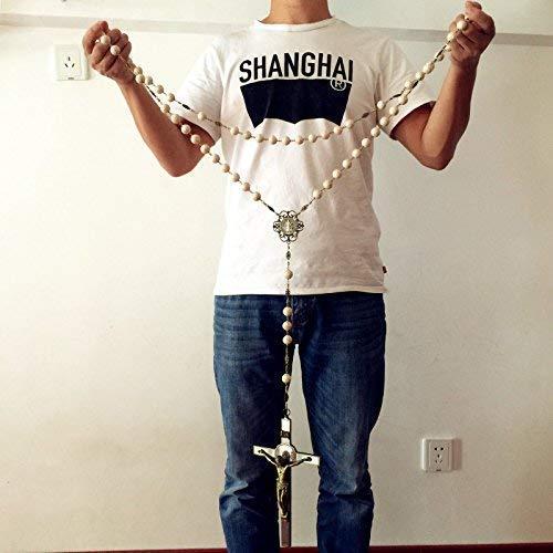 elegantmedical Handmade Large 20mm White howlite Beads Home St.Benedict Wall Rosary Catholic Cross/Crucifix Box ()