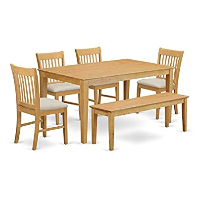 East West Furniture CANO6-OAK-C Kitchen Dining Table Set 6 Piece - Microfiber Upholstery Dining Table Chairs Seat - Oak Finish Wood Table and Kitchen Bench - 6 Piece Classy dining table together with four dining room chairs and one long benches finish in a warm oak color with microfiber upholstery seat. Superior quality kitchen dining set that made of 100% Asian Hardwood. Certainly no MDF, veneer, laminate utilised in our products. Chair designs incorporate a traditional ladder back style. - kitchen-dining-room-furniture, kitchen-dining-room, dining-sets - 41ykSZuqFtL. SS400  -