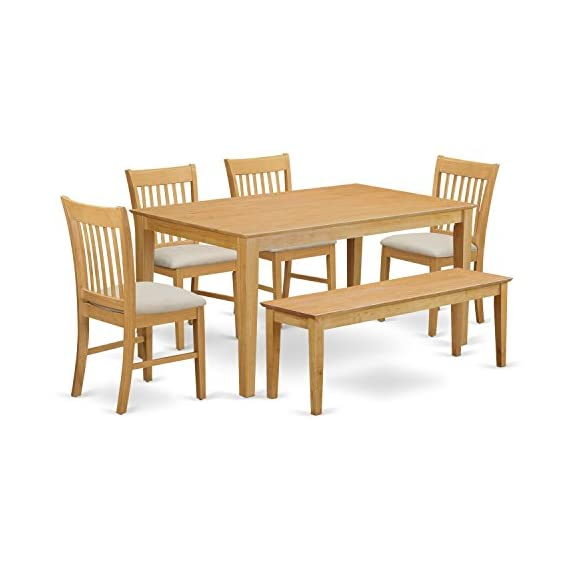 East West Furniture CANO6-OAK-C Kitchen Dining Table Set 6 Piece - Linen Fabric Dining Table Chairs Seat - Oak Finish… - 6 Piece Classy dining table together with four dining room chairs and one long benches finish in a warm oak color with microfiber upholstery seat. Superior quality kitchen dining set that made of 100% Asian Hardwood. Certainly no MDF, veneer, laminate utilised in our products. Chair designs incorporate a traditional ladder back style. - kitchen-dining-room-furniture, kitchen-dining-room, dining-sets - 41ykSZuqFtL. SS570  -