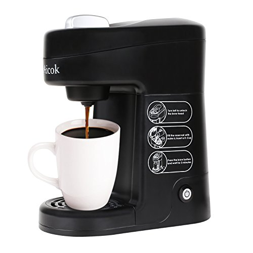 Aicok K Cup Coffee Maker Single Serve Coffee Brewing System Coffee Machine, Black