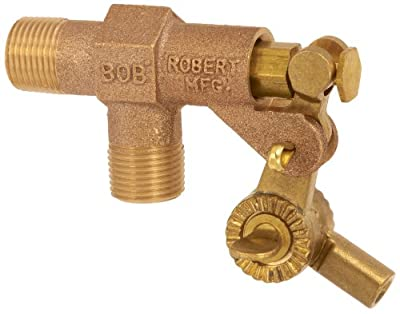 "Robert Manufacturing R900-5 Series Bob Red Brass Float Valve Assembly with Fluted Celcon Plunger and Stem, 1/2"" NPT Male Inlet x 1/2"" NPT Male Outlet, 125 psi Pressure from Control Devices"