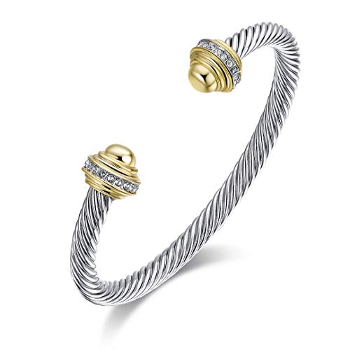- Ofashion Twisted Cable Wire Cuff Bracelet with Gold Ends and Zircon Cross