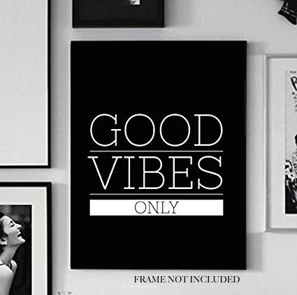 Good Vibes Only V3 Art, Black White Grey Color, Modern Home Wall Decor Poster